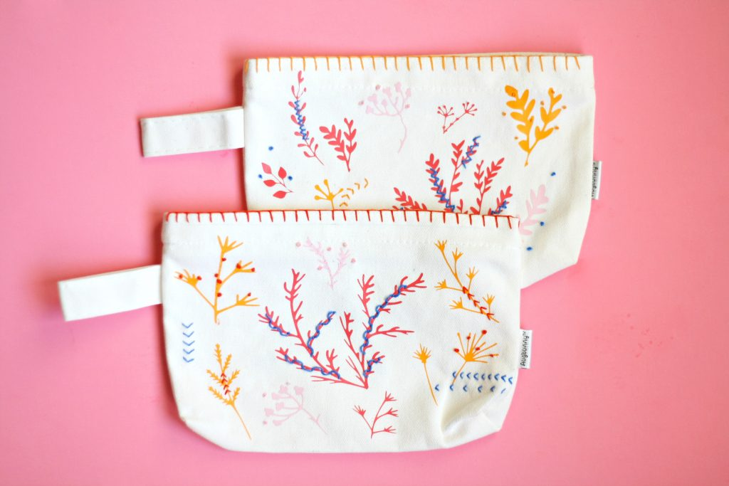floral stitched pouches