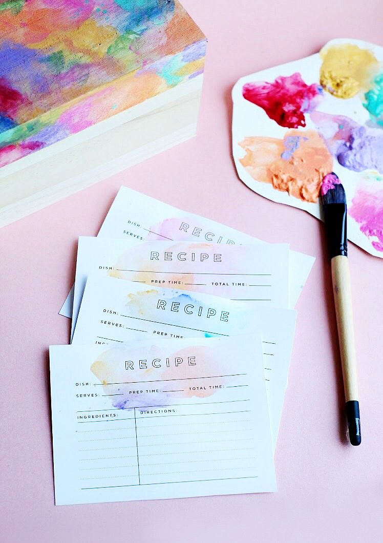 watercolor recipe cards