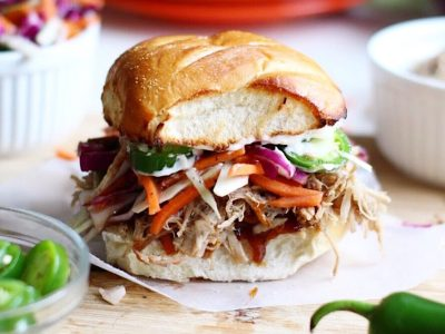 Pulled Pork Sandwiches with Jalapeño and Raspberry Slaw