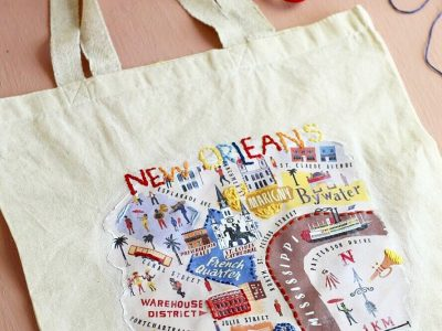 DIY Embroidered Map Tote