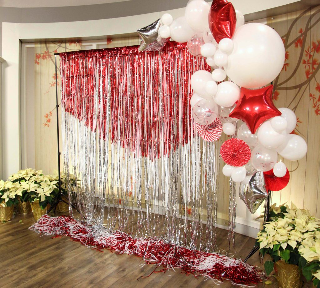 diy layered foil photo backdrop the