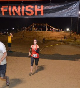 Crossing the finish line in my vibrams