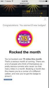 Highest mileage month badge from Smashrun!