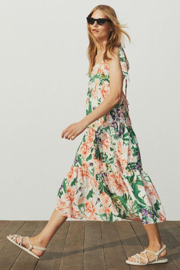 kvetinové H&M midi šaty