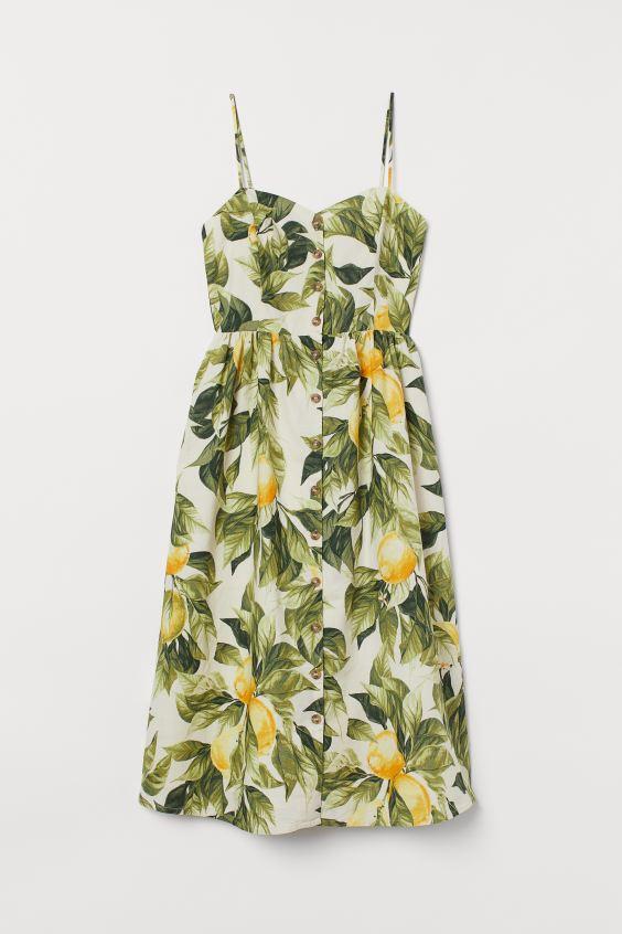 letné šaty od H&M s potlačou citronov a zelených listov