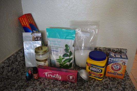 All the ingredients needed to make these bath bombs