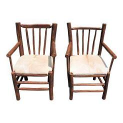 PAIR OF RUSTIC HICKORY CHAIRS WITH COW HIDE SEATS