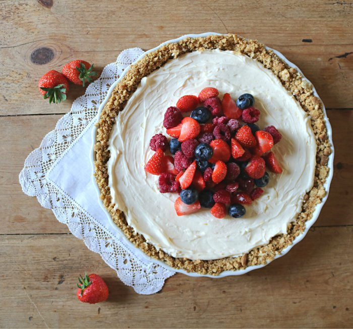 tarte au mascarpone, lemon curd et fruits rouges