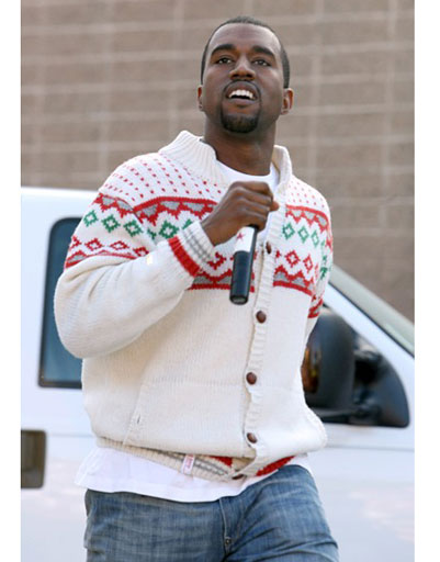 "Kanye West is pleased with ""Christmas"" sweater"