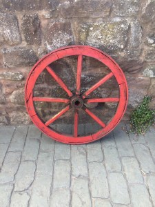 Belgian cart wheel. Red on one side