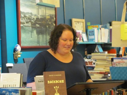 Jennifer Jackson Berry reading her poetry at Classic Lines bookstore. Her poetry appears in Issue 4.