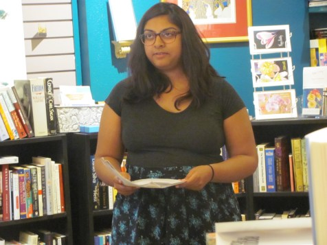 Kamala Gopalakrishnan reading her poetry at Classic Lines Bookstore. Her poetry is featured in Issue 4.