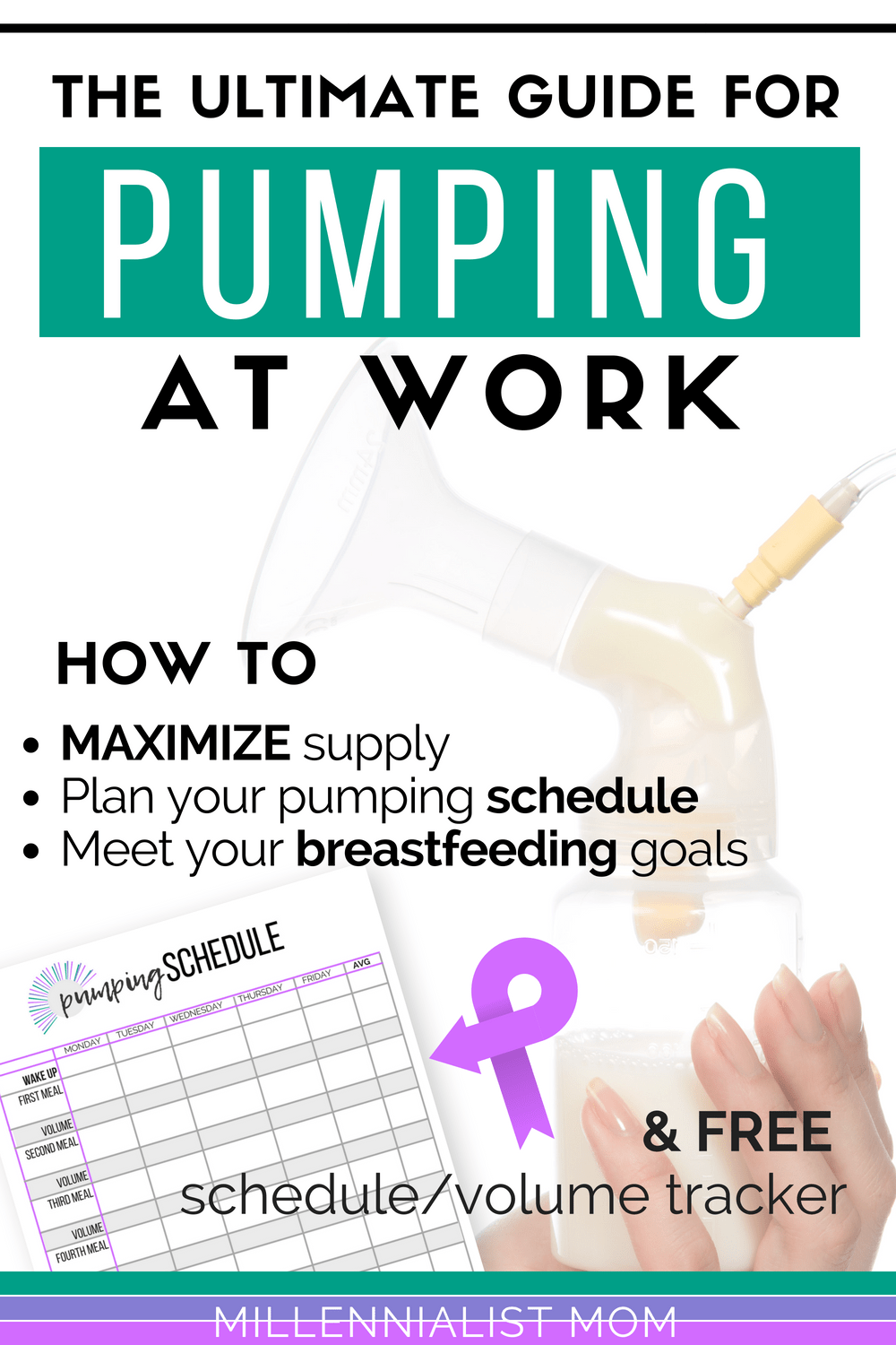 The ultimate guide for #pumping at work. Learn how to get the most out of your supply and build a freezer stash, PLAN your best pumping schedule for work (and make it happen), and Reach your biggest breastfeeding goals easily! It's easier than you think, and sooo worth it. #workingmom #breastfeeding