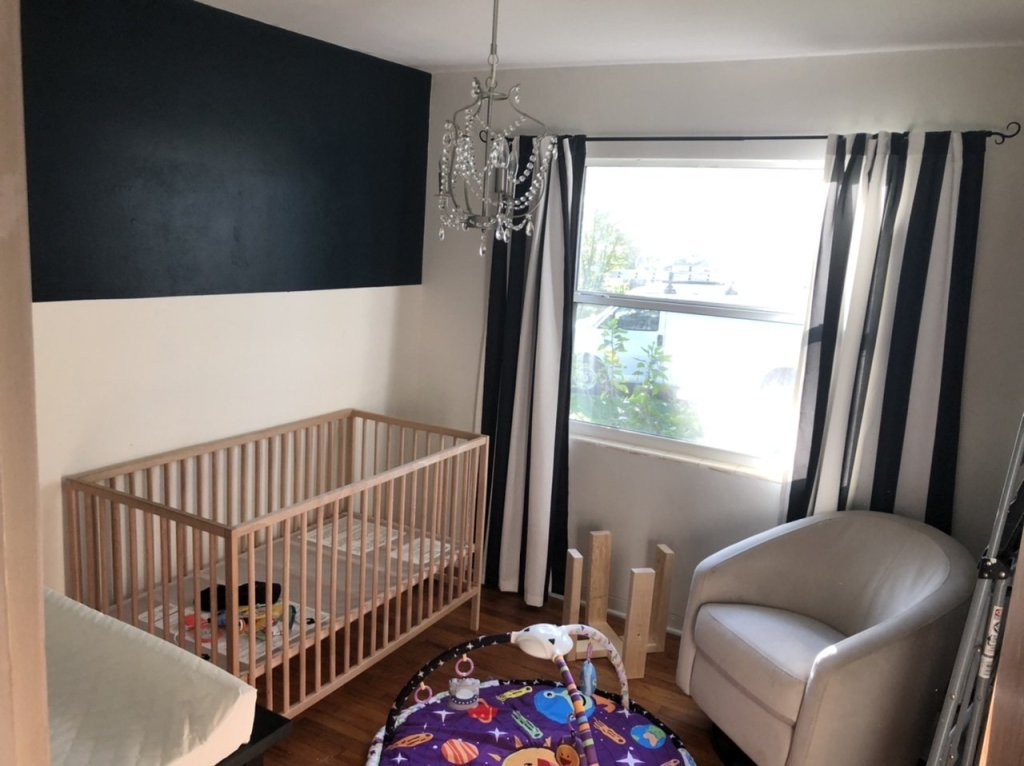 ORC week 3 space nursery room makeover - Sherwin Williams Dark Night and Greek Villa colorblock wall using frogtape painter's tape