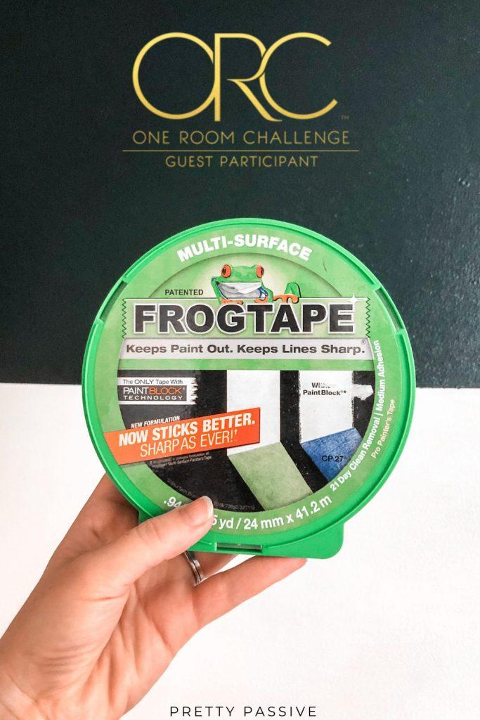 One Room Challenge Week 3 - Frogtape colorblock wall with Sherwin Williams Dark Night against Greek Villa