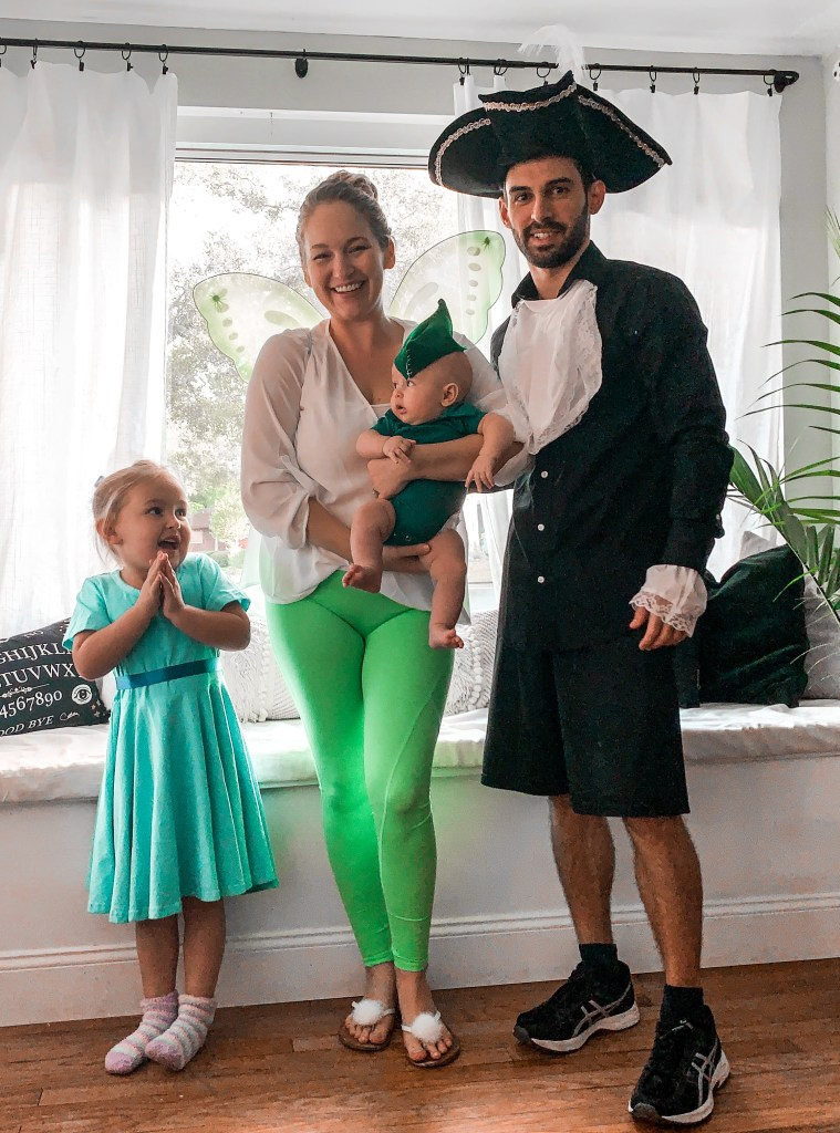 cheap and easy halloween costume - peter pan and family of 4