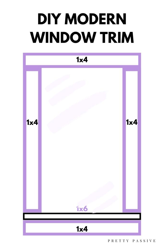 DIY-Modern-Window-Trim- Design Diagram with preprimed pine lumber