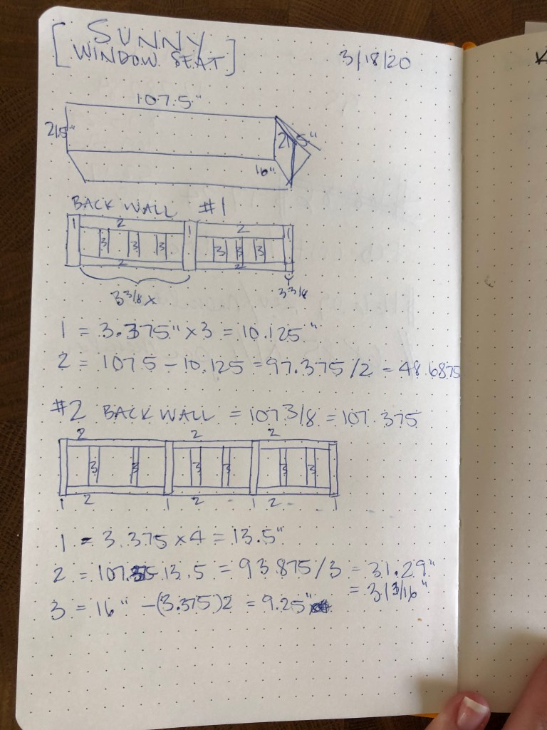 DIY built-in window bench design plans using a dotted journal