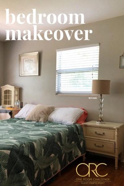 One Room Challenge beige Bedroom makeover - benjamin moore revere pewter