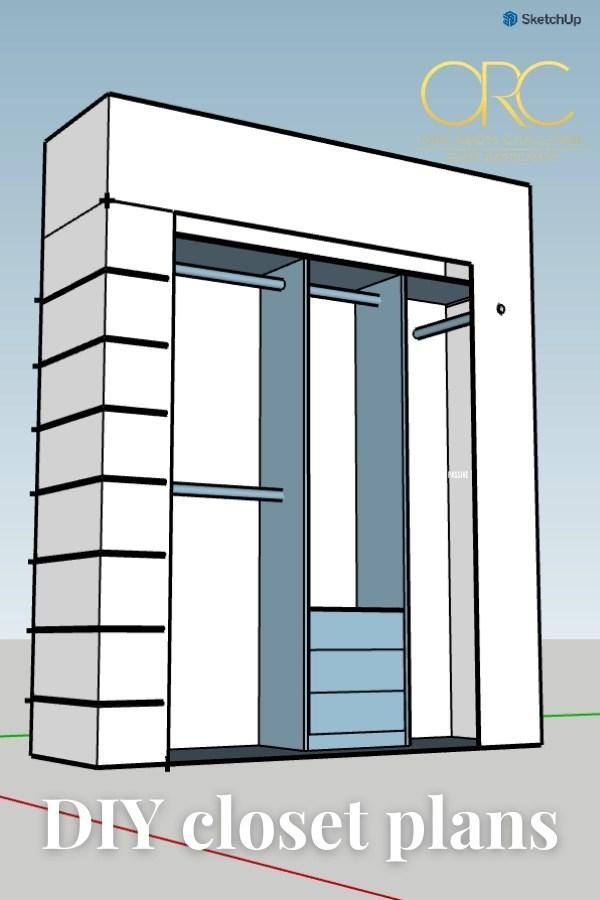 DIY closet plans in sketchup - One Room Challenge 2021