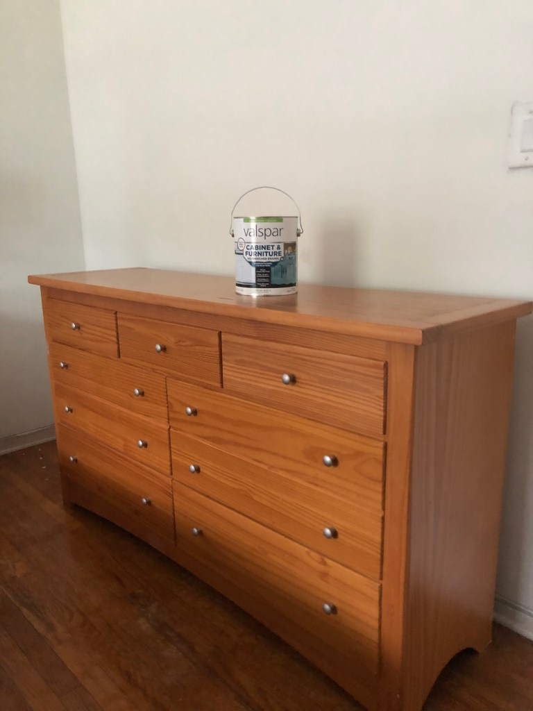 Valspar cabinet and furniture paint review - BEFORE - repainting the orange wood lacquered dresser. how to refinish furniture with no prep. no priming. no sanding. the easy way to repaint a dresser or nightstand.