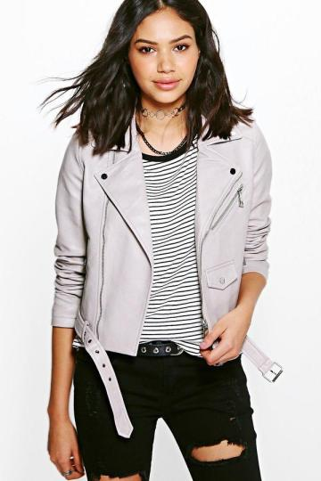 boohoo Eve Boutique Belted Faux Leather Biker Jacket • Boohoo • $58