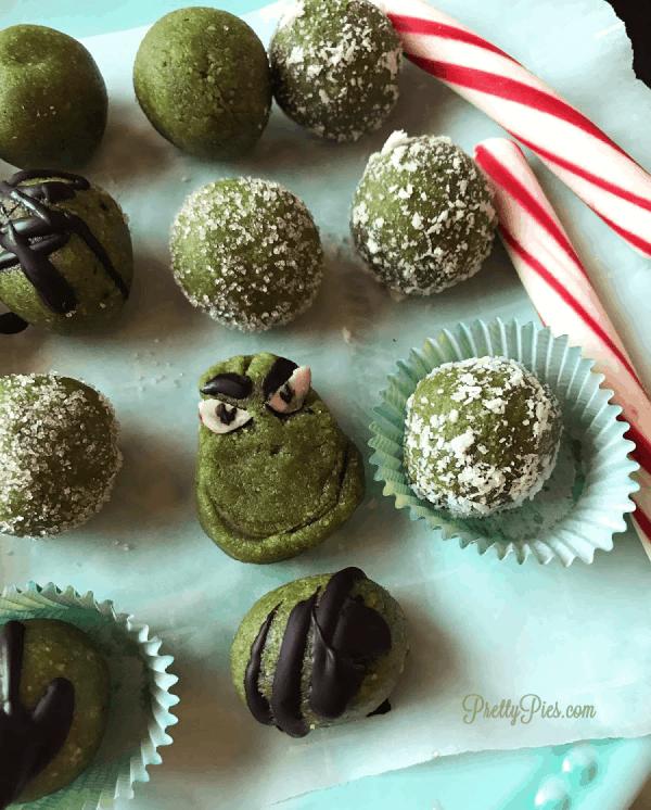 Peppermint Grinch Pops - (Vegan, Paleo, Dye-Free) PrettyPies.com