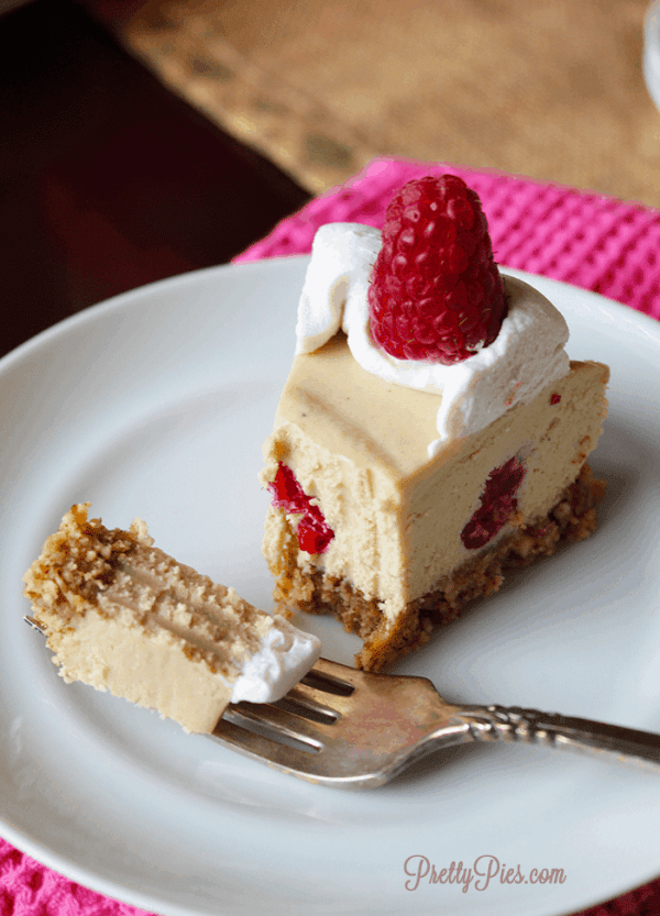 White Chocolate Raspberry Cheesecake (Vegan, Paleo) - PrettyPies.com