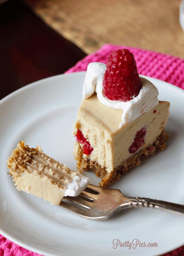 White Chocolate Raspberry Cheesecake (Vegan, Paleo) - PrettyPies.com