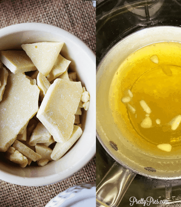 cacao butter before & after