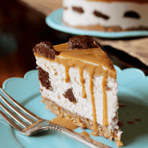 Caramel Brownie Chunk Cheesecake (Low-Carb, Vegan, Paleo) - PrettyPies.com