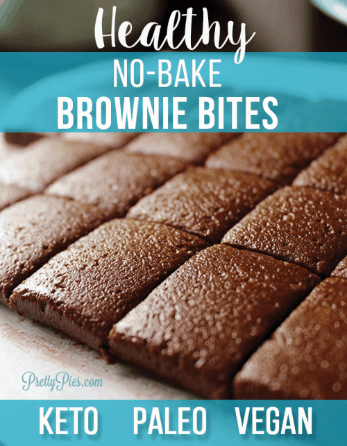 Healthy, no-bake bites of brownie bliss. Ready in minutes with no cooking or baking needed! Keto, Paleo and Vegan. #lowcarb #healthybrownies #keto #ketodessert #prettypies
