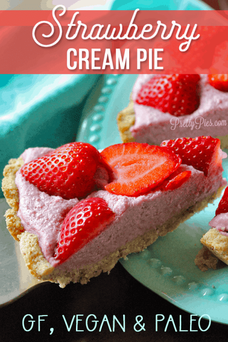 Favorite summer dessert: Strawberry Cream Pie! Luscious cream bursting with strawberry flavor on a buttery shortbread crust. Perfect for BBQ's, parties and potlucks (No one will know it has NO gluten/grains, dairy, eggs, or sugar!) | #vegan #paleo #cleaneating #healthydessert recipe from PrettyPies.com