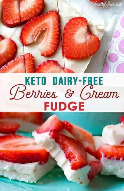 QUICK AND EASY Keto Berries & Cream Fudge (Sugar-Free, Dairy-Free, Nut-Free, Paleo, Vegan) from PrettyPies.com