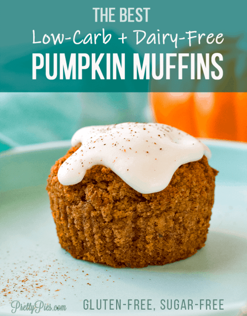 Soft, moist, and perfectly pumpkin spiced! Enjoy these healthy pumpkin muffins for a wholesome breakfast, snack or even dessert! Low carb, sugar free, Vegan #lowcarb #sugarfree #pumpkinmuffins #healthybreakfast #keto #grainfree