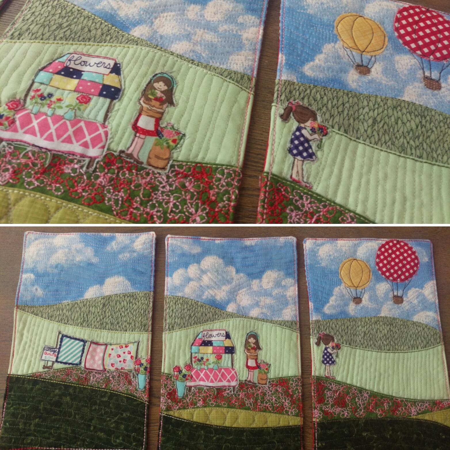 mini quilt triptych raw-edge applique