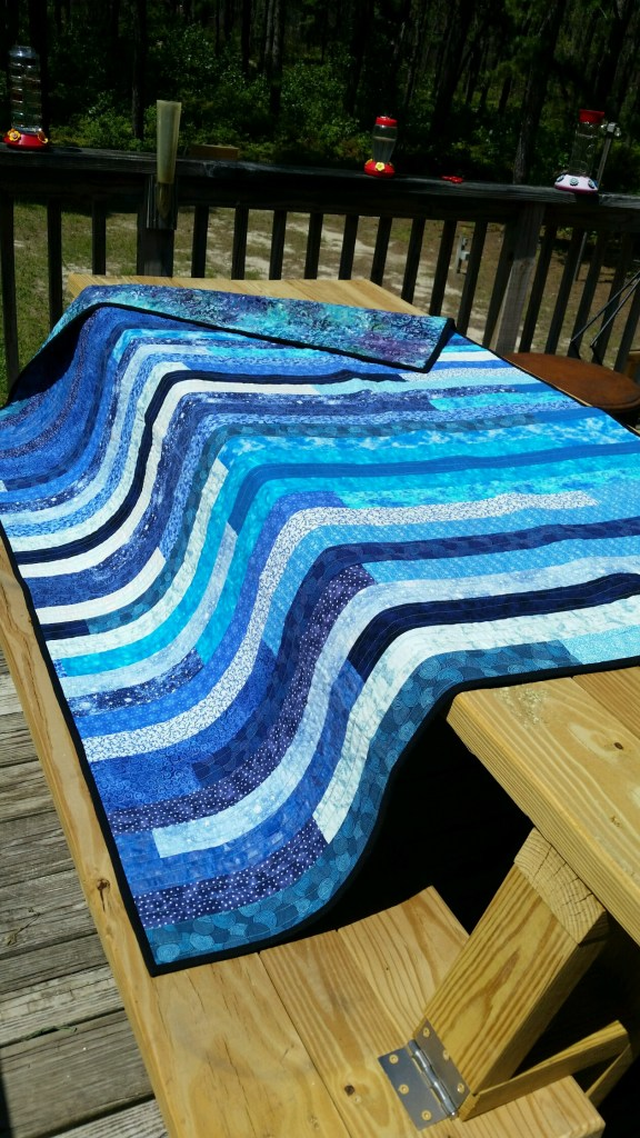 blue and white jelly roll quilt