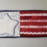 flag appliqued mug rug