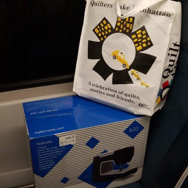 sewing machine on a train