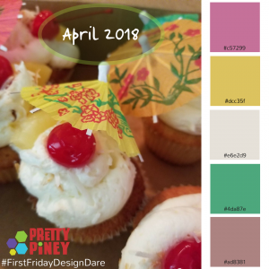 First Friday Design Dare Umbrella Cupcake with Color Palette