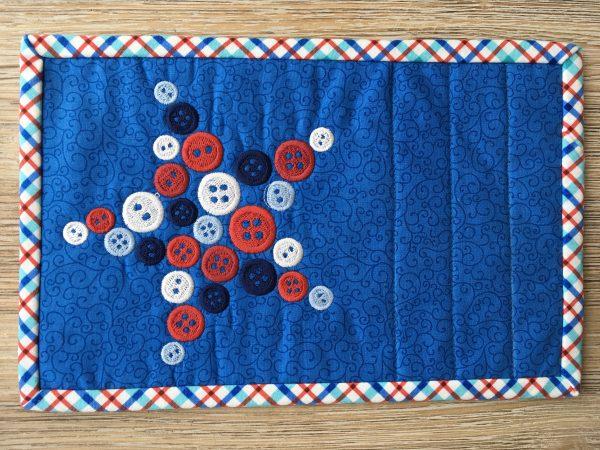 Stars-n-Stitches Forever mug rug embroidery