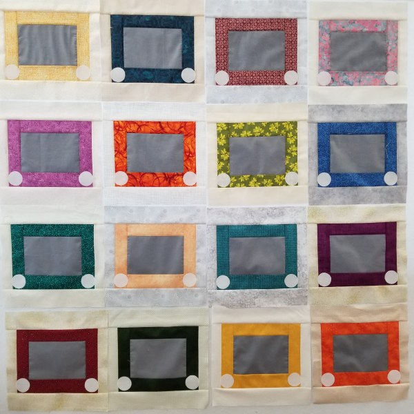 Sketchy block quilt top