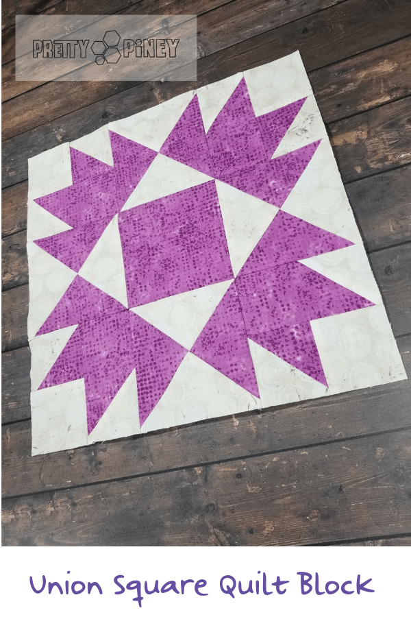 The Union Square quilt block looks like what would happen if a quilter couldn't decide between making a Bear's Paw or making an Economy block. Get tips on achieving perfect points and find out how to get the free block pattern from Fat Quarter Shop at prettypiney.com!