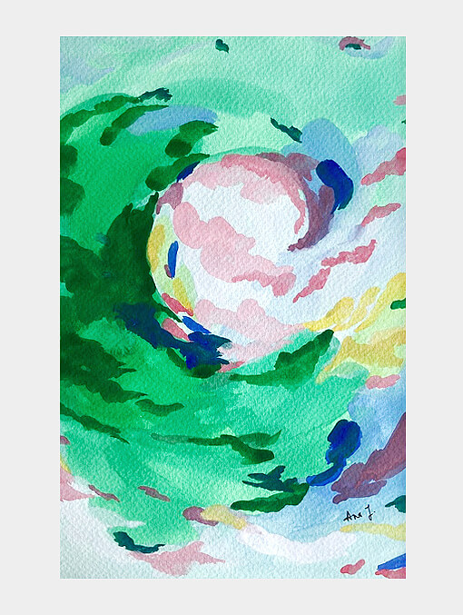 green and pink strokes of colour depicting sky