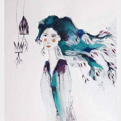 face of a beautiful woman with open hair merging with elements of nature like leaves and stems