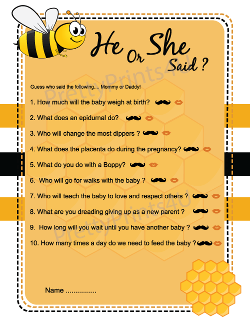 Bumble Bee Baby Shower Games Pack