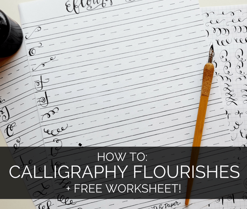 My favorite supplies and tips for learning calligraphy flourishes - plus a free worksheet! // www.prettyprintsandpaper.com