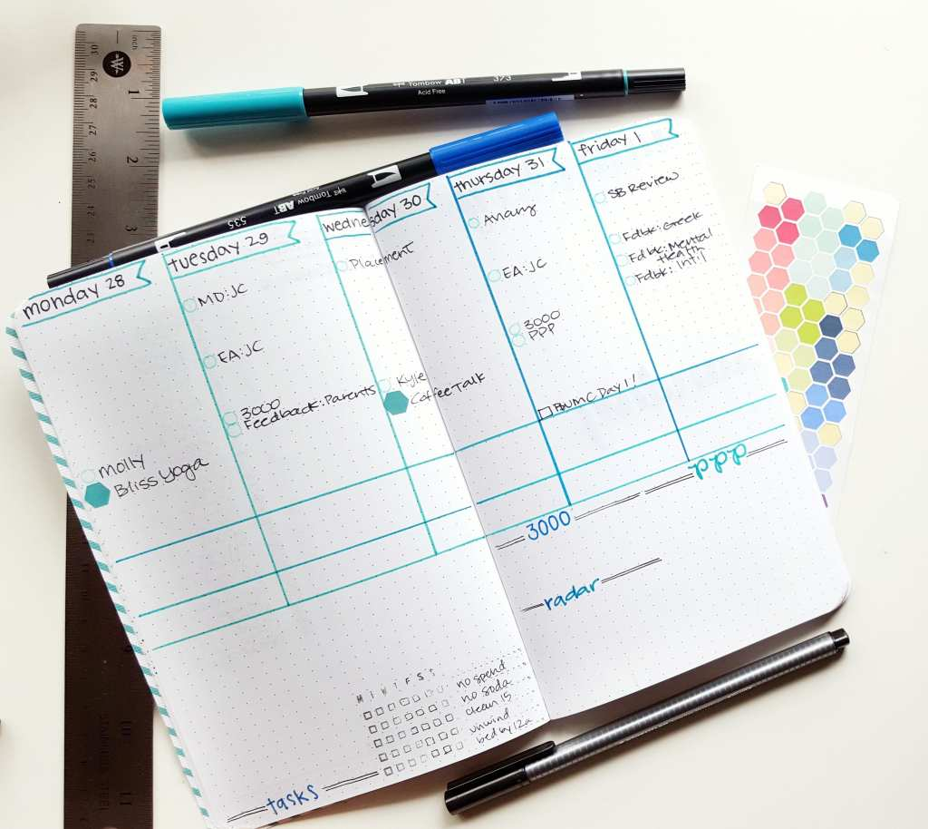 Using a 5-day weekly helps keep me on track! The extra rows give me room to do things like gratitude and expense tracking // www.prettyprintsandpaper.com