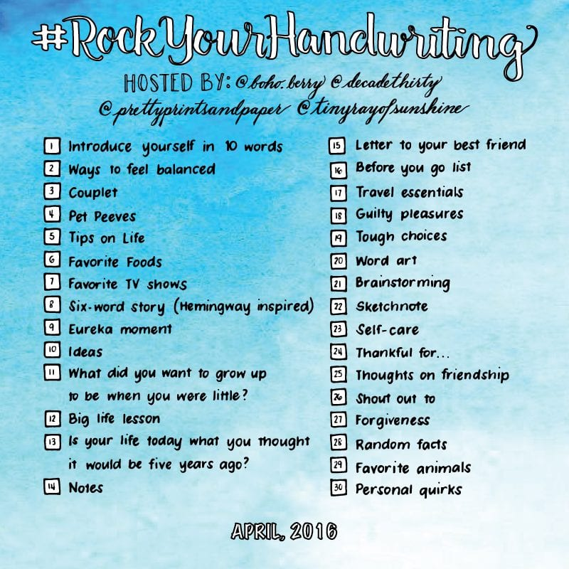 Join @prettyprintsandpaper, @decadethirty, @tinyrayofsunshine, and @boho.berry for another month of the #rockyourhandwriting challenge! // www.prettyprintsandpaper.com