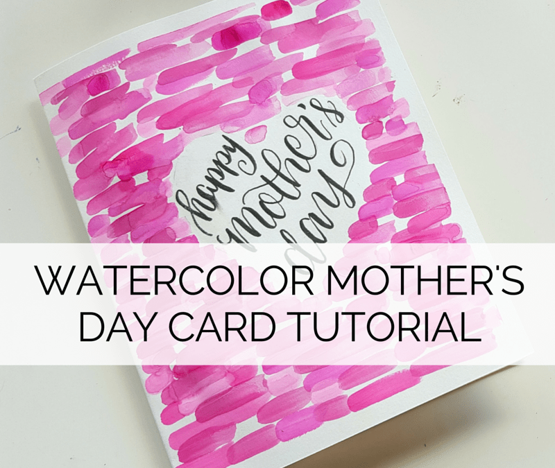A quick tutorial to make this DIY watercolor mother's day card! // www.prettyprintsandpaper.com